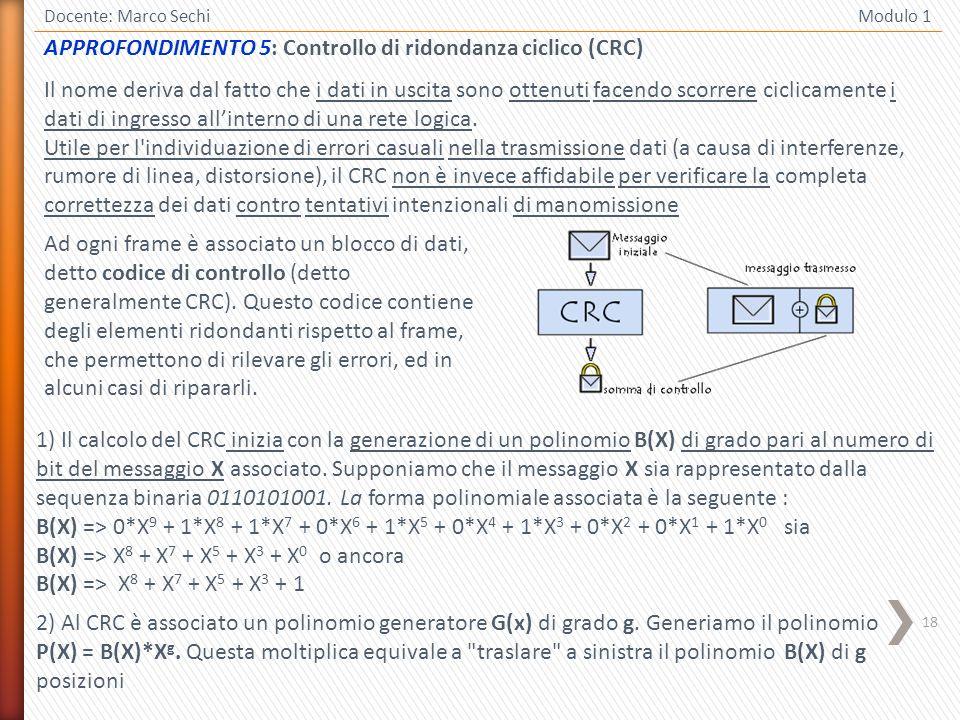 APPROFONDIMENTO 5: Controllo di ridondanza ciclico (CRC)