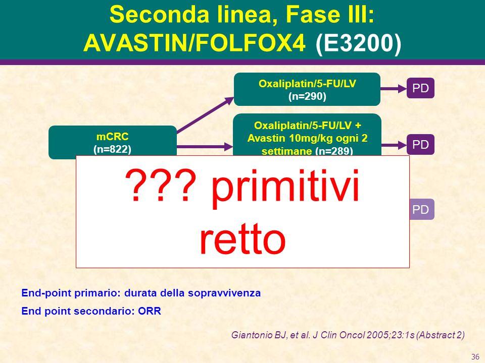Seconda linea, Fase III: AVASTIN/FOLFOX4 (E3200)