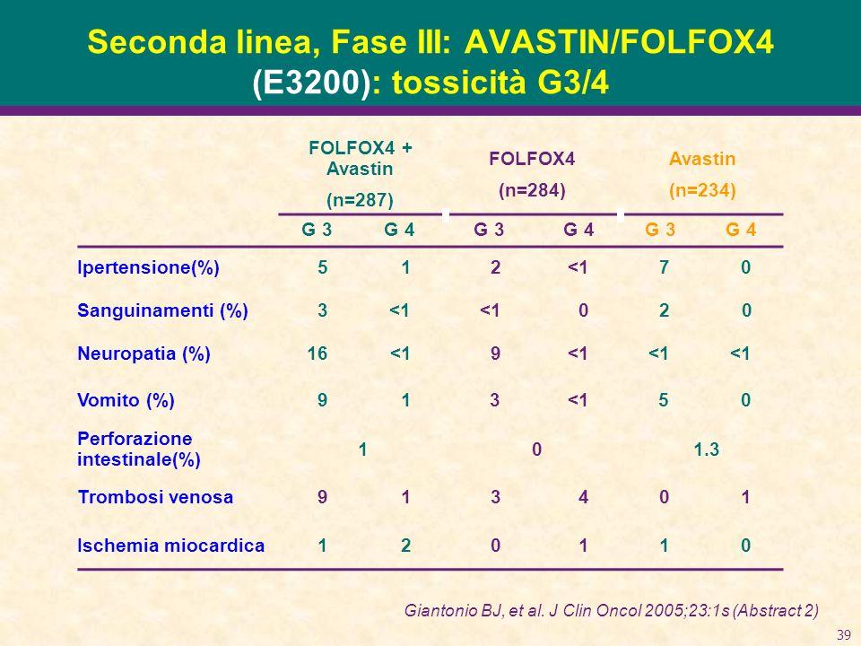 Seconda linea, Fase III: AVASTIN/FOLFOX4 (E3200): tossicità G3/4