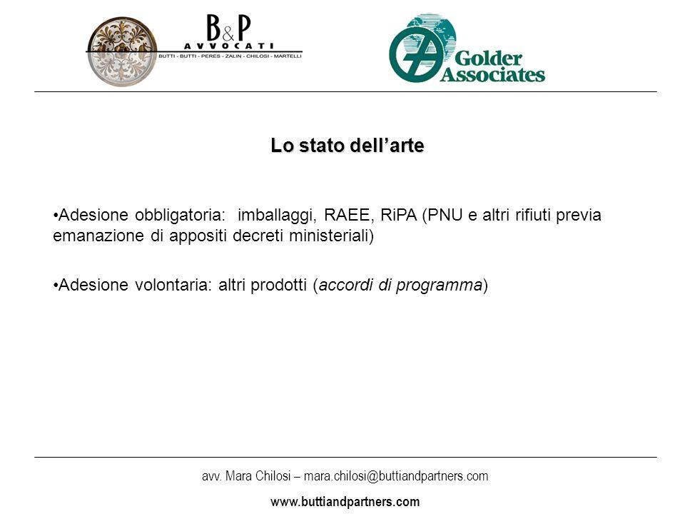 Lo stato dell'arte Adesione obbligatoria: imballaggi, RAEE, RiPA (PNU e altri rifiuti previa emanazione di appositi decreti ministeriali)