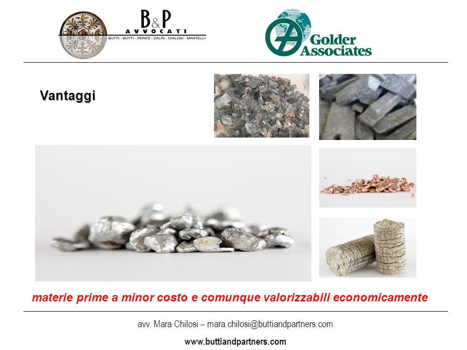 materie prime a minor costo e comunque valorizzabili economicamente