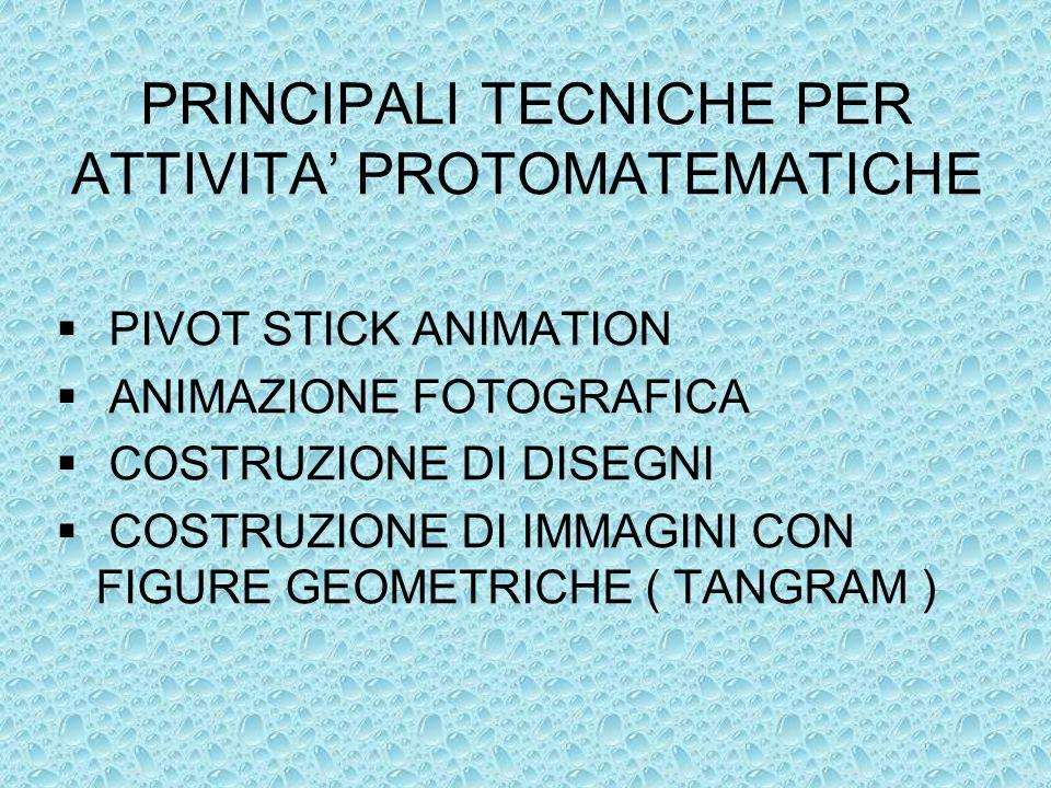 PRINCIPALI TECNICHE PER ATTIVITA' PROTOMATEMATICHE