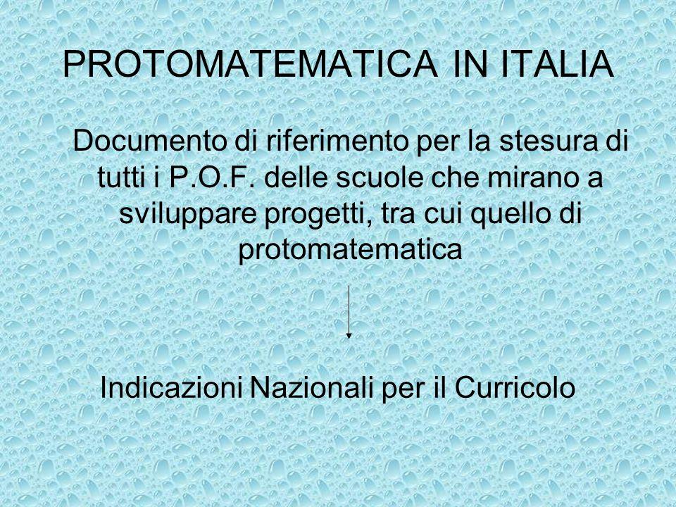 PROTOMATEMATICA IN ITALIA