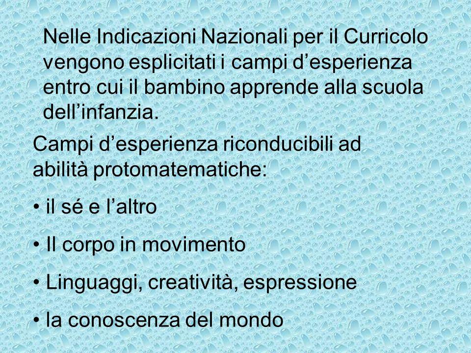 Nelle Indicazioni Nazionali per il Curricolo vengono esplicitati i campi d'esperienza entro cui il bambino apprende alla scuola dell'infanzia.