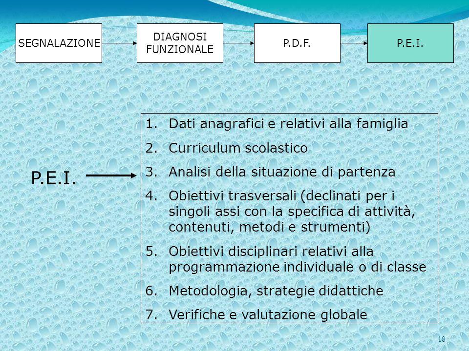 P.E.I. Dati anagrafici e relativi alla famiglia Curriculum scolastico