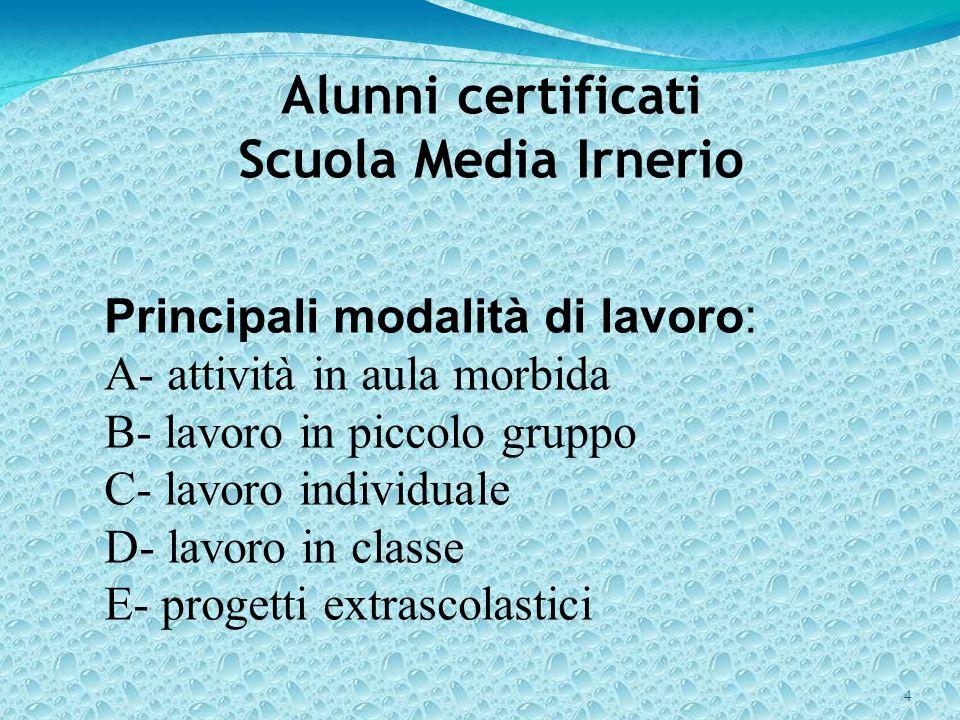 Alunni certificati Scuola Media Irnerio