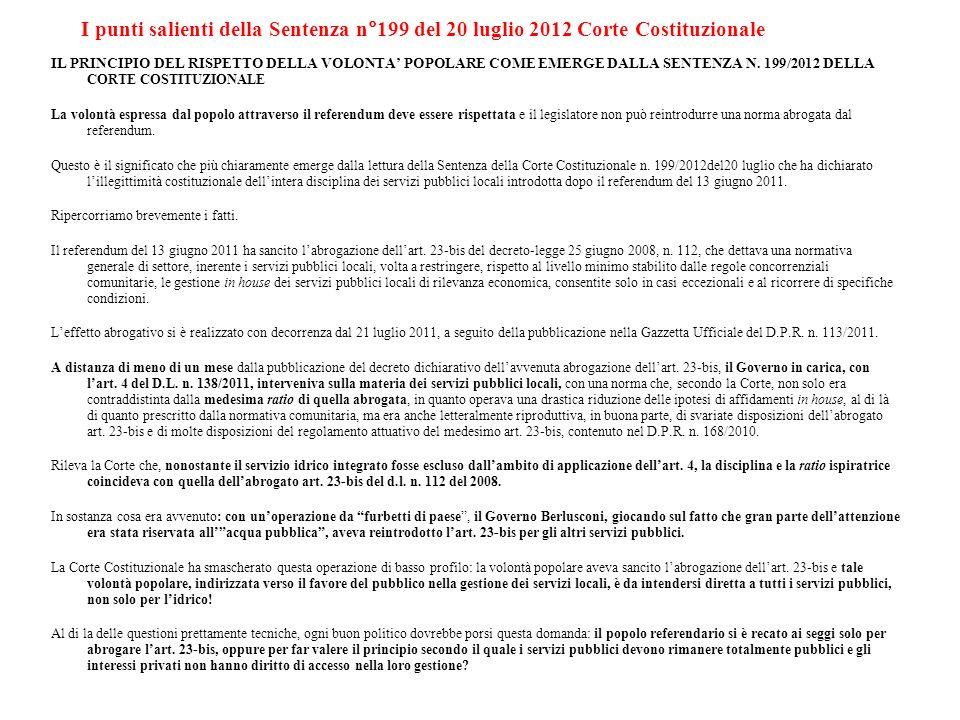 I punti salienti della Sentenza n°199 del 20 luglio 2012 Corte Costituzionale