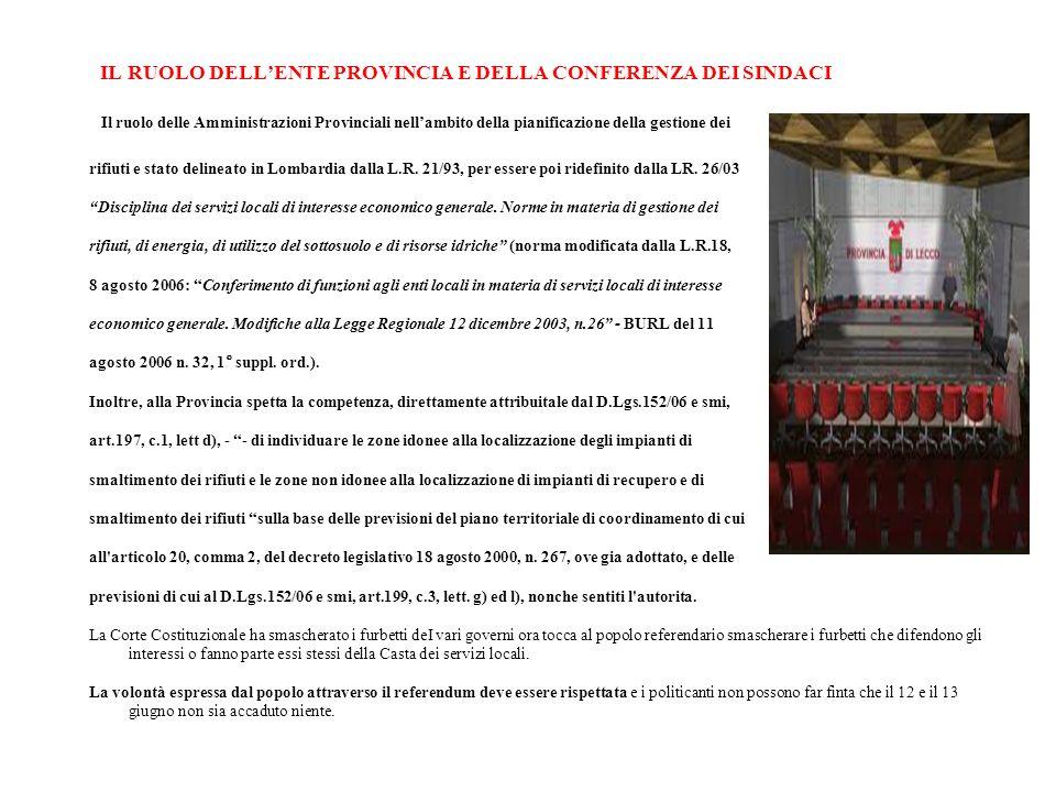 liIL RUOLO DELL'ENTE PROVINCIA E DELLA CONFERENZA DEI SINDACI