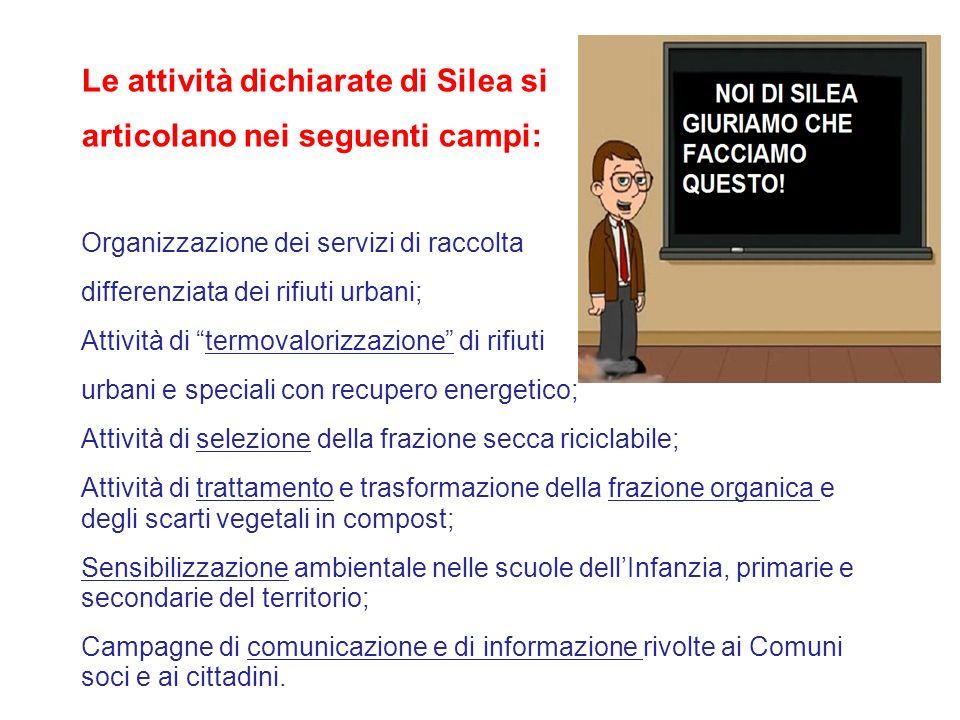 Le attività dichiarate di Silea si articolano nei seguenti campi: