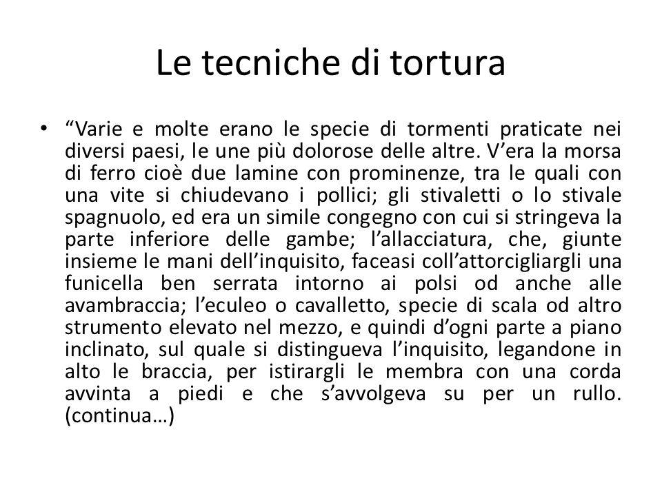 Le tecniche di tortura
