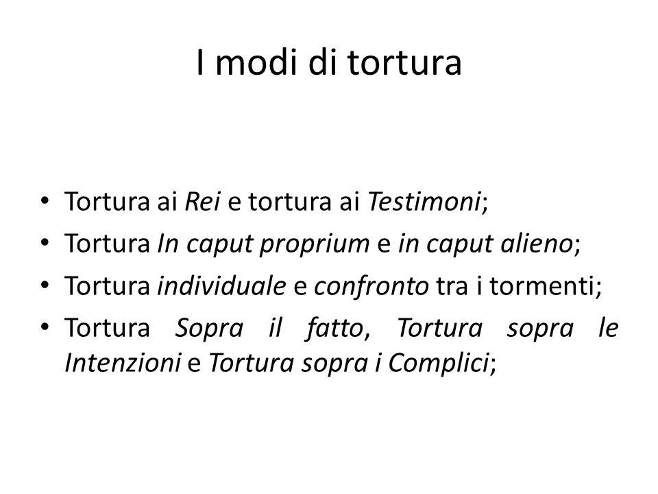I modi di tortura Tortura ai Rei e tortura ai Testimoni;