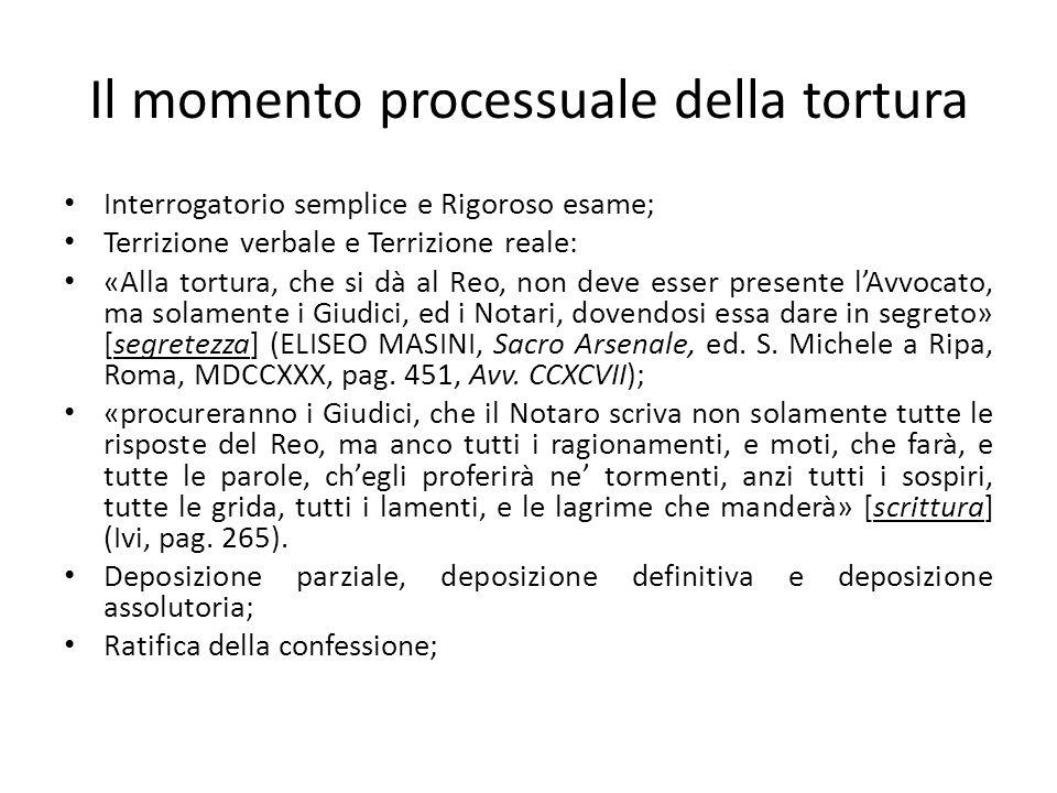 Il momento processuale della tortura