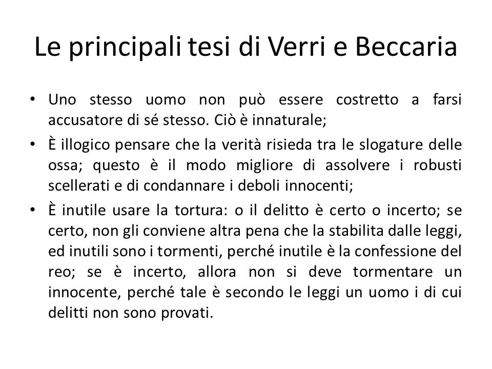Le principali tesi di Verri e Beccaria