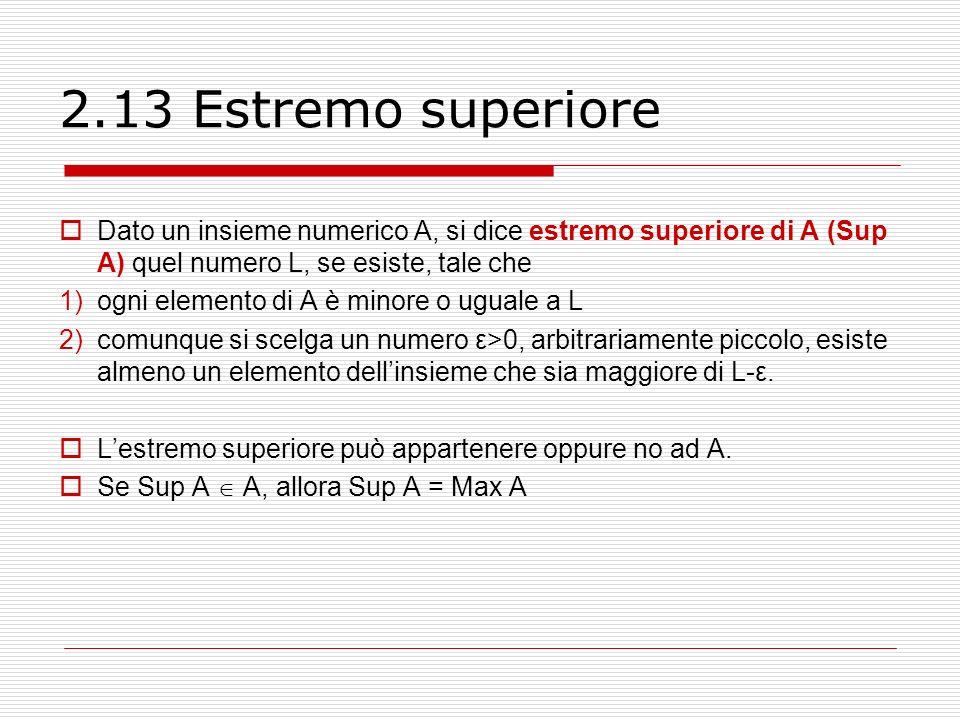 2.13 Estremo superiore Dato un insieme numerico A, si dice estremo superiore di A (Sup A) quel numero L, se esiste, tale che.