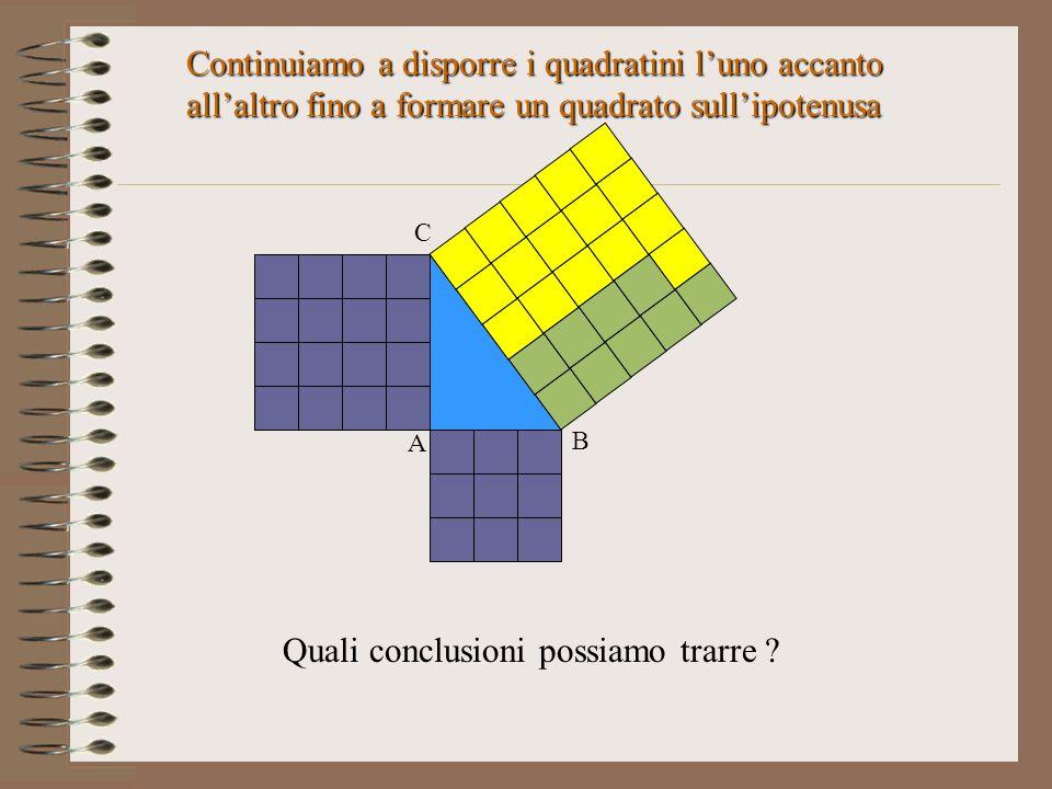 Continuiamo a disporre i quadratini l'uno accanto