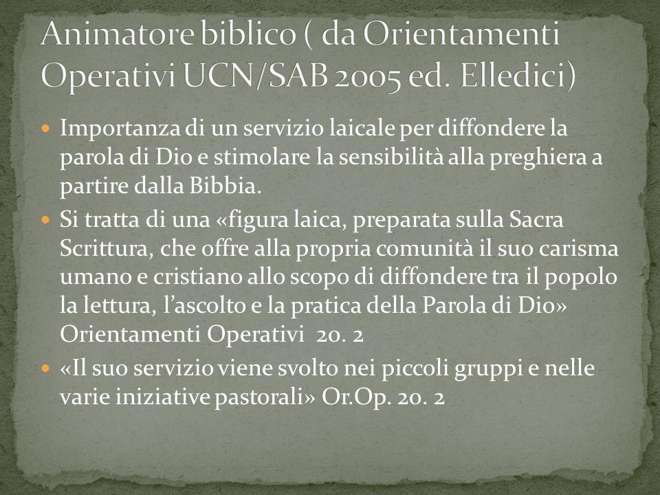 Animatore biblico ( da Orientamenti Operativi UCN/SAB 2005 ed