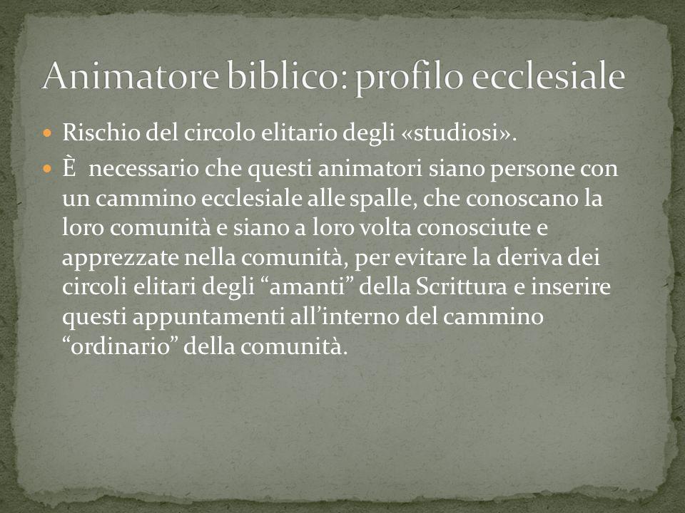 Animatore biblico: profilo ecclesiale