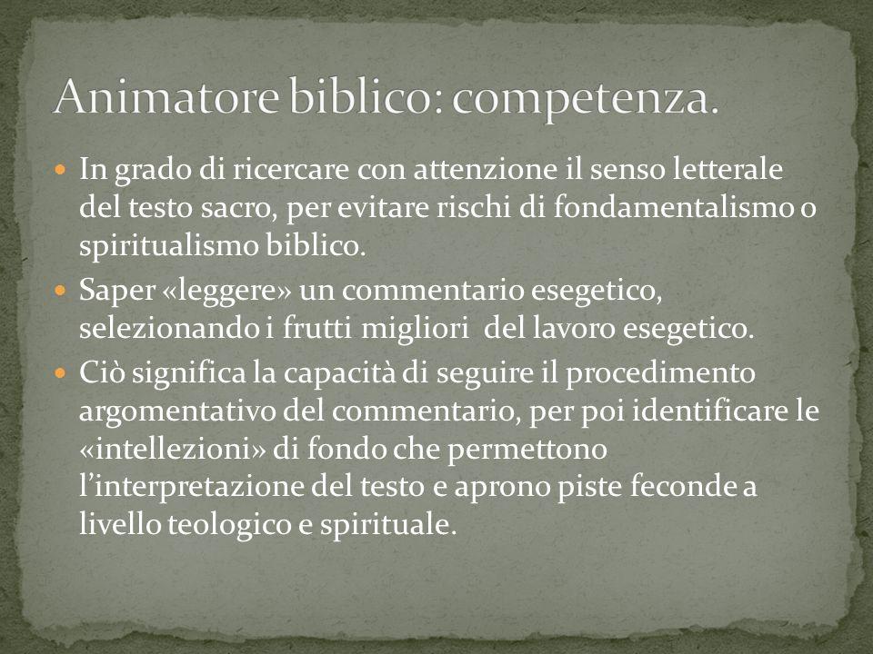 Animatore biblico: competenza.