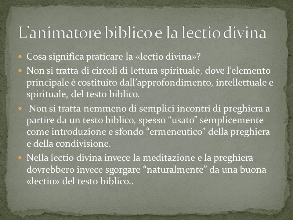 L'animatore biblico e la lectio divina