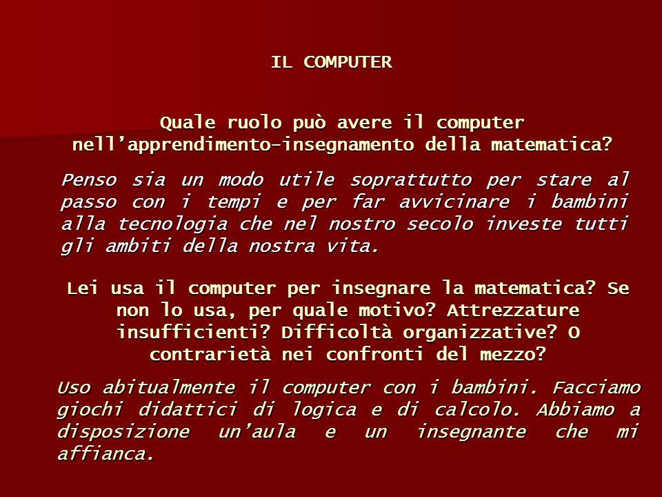 IL COMPUTER Quale ruolo può avere il computer nell'apprendimento-insegnamento della matematica