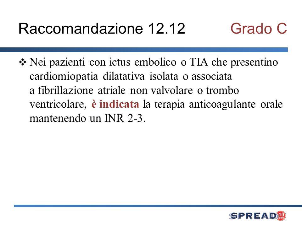 Raccomandazione 12.12 Grado C