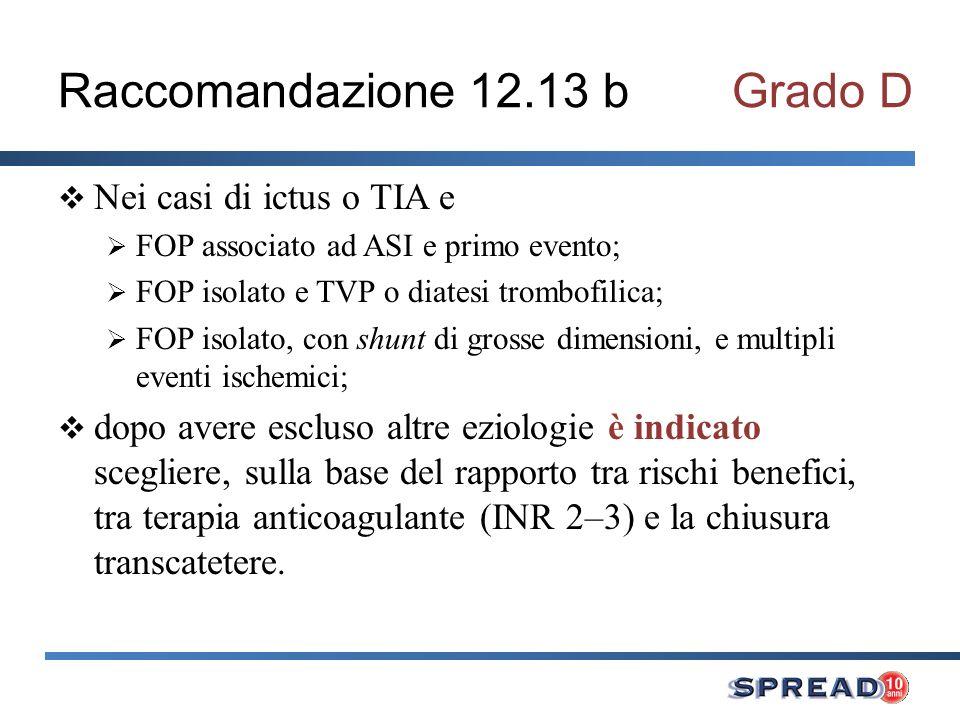 Raccomandazione 12.13 b Grado D