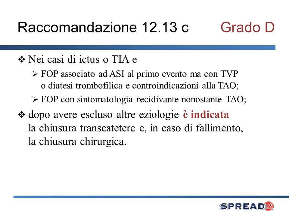 Raccomandazione 12.13 c Grado D