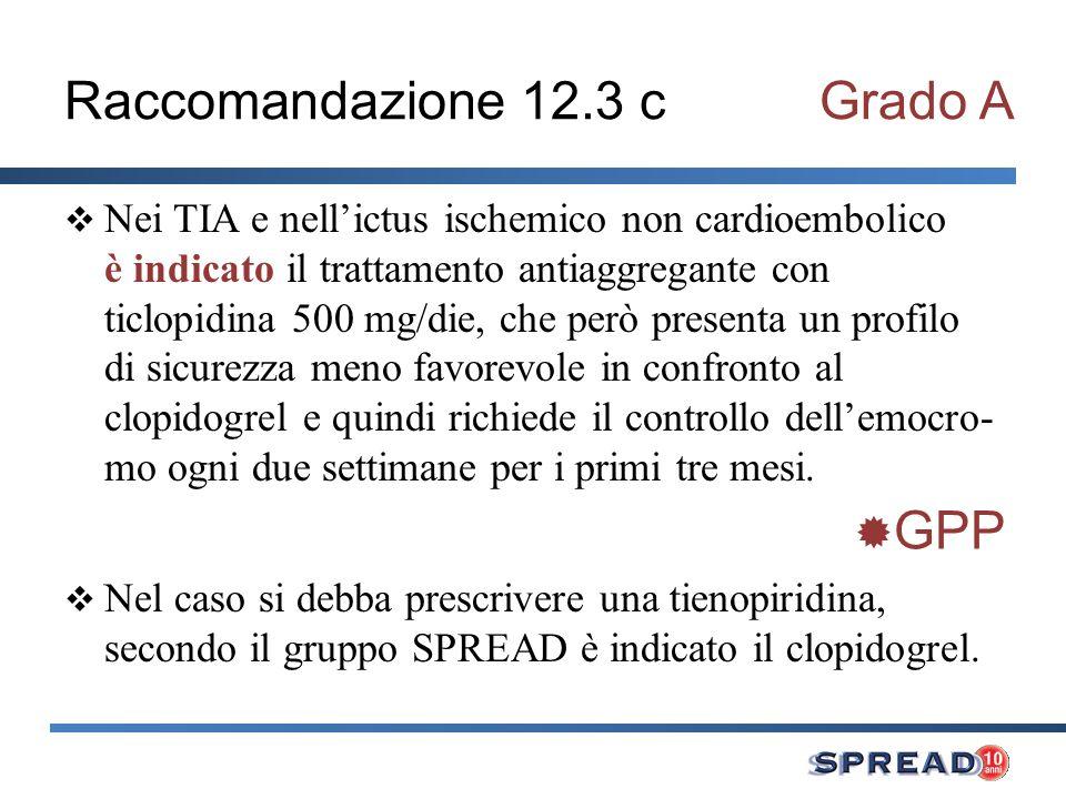 Raccomandazione 12.3 c Grado A