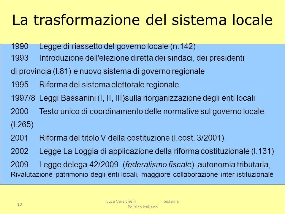 La trasformazione del sistema locale