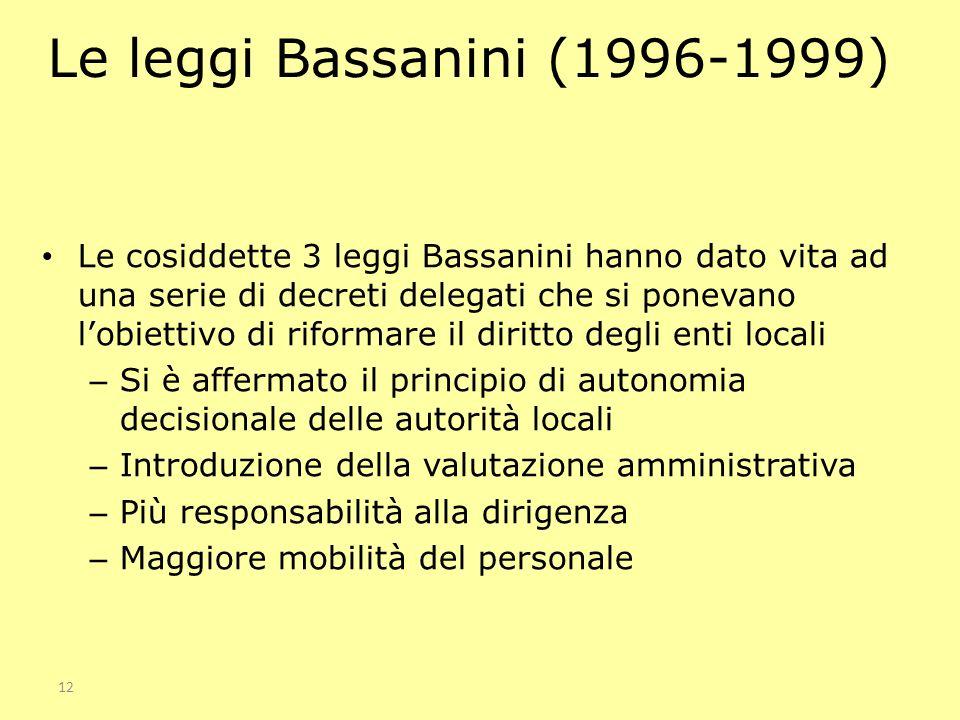 Le leggi Bassanini (1996-1999)
