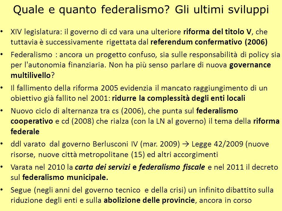 Quale e quanto federalismo Gli ultimi sviluppi