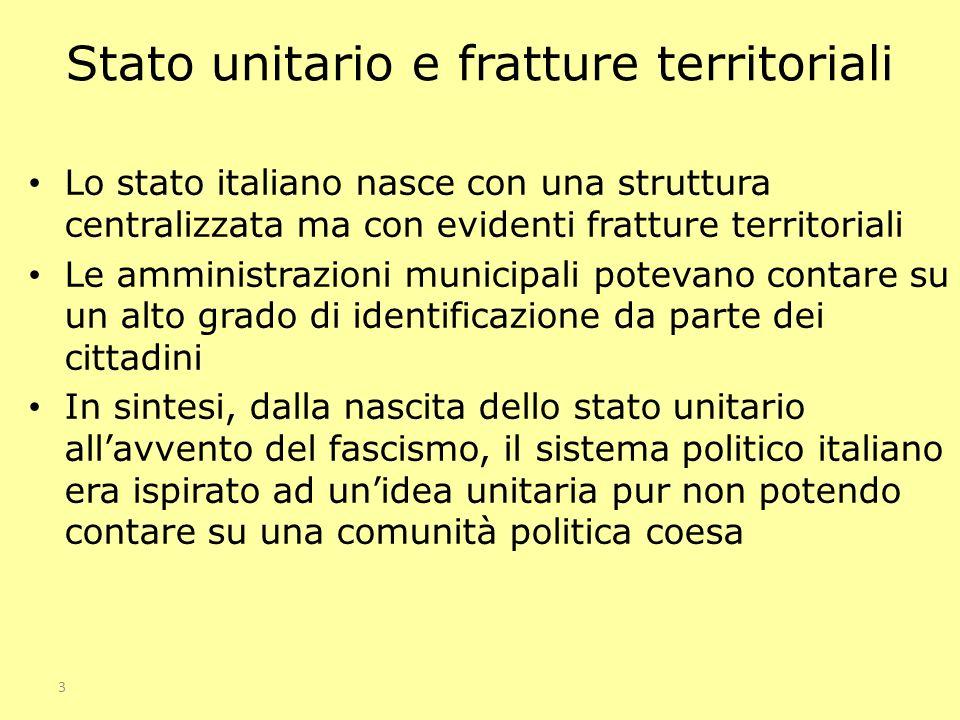 Stato unitario e fratture territoriali