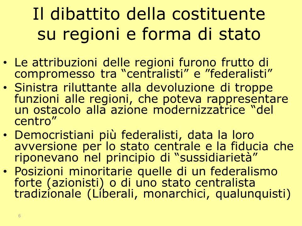 Il dibattito della costituente su regioni e forma di stato