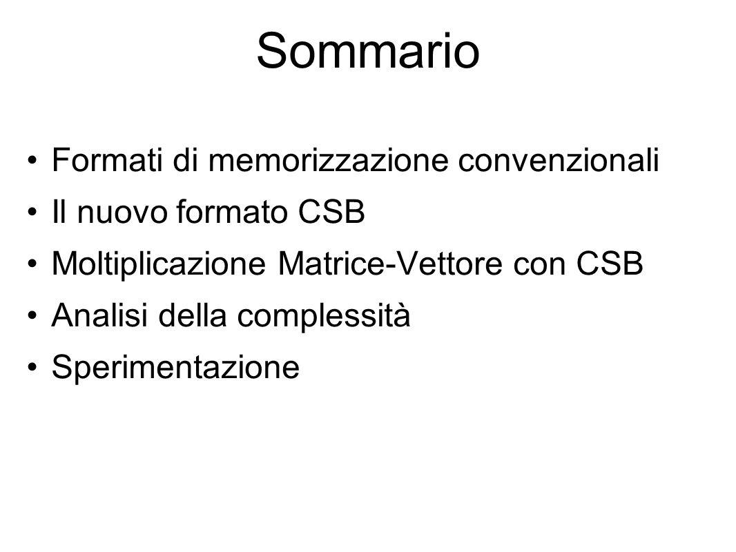 Sommario Formati di memorizzazione convenzionali Il nuovo formato CSB