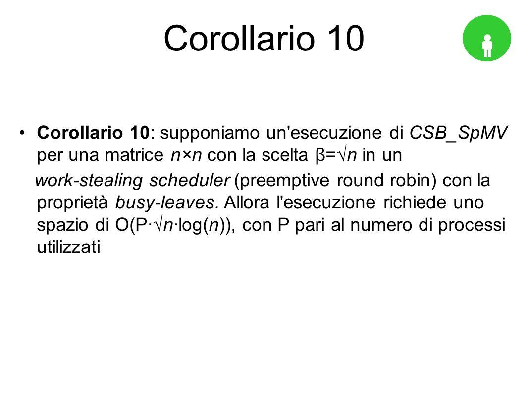 Corollario 10 Corollario 10: supponiamo un esecuzione di CSB_SpMV per una matrice n×n con la scelta β=√n in un