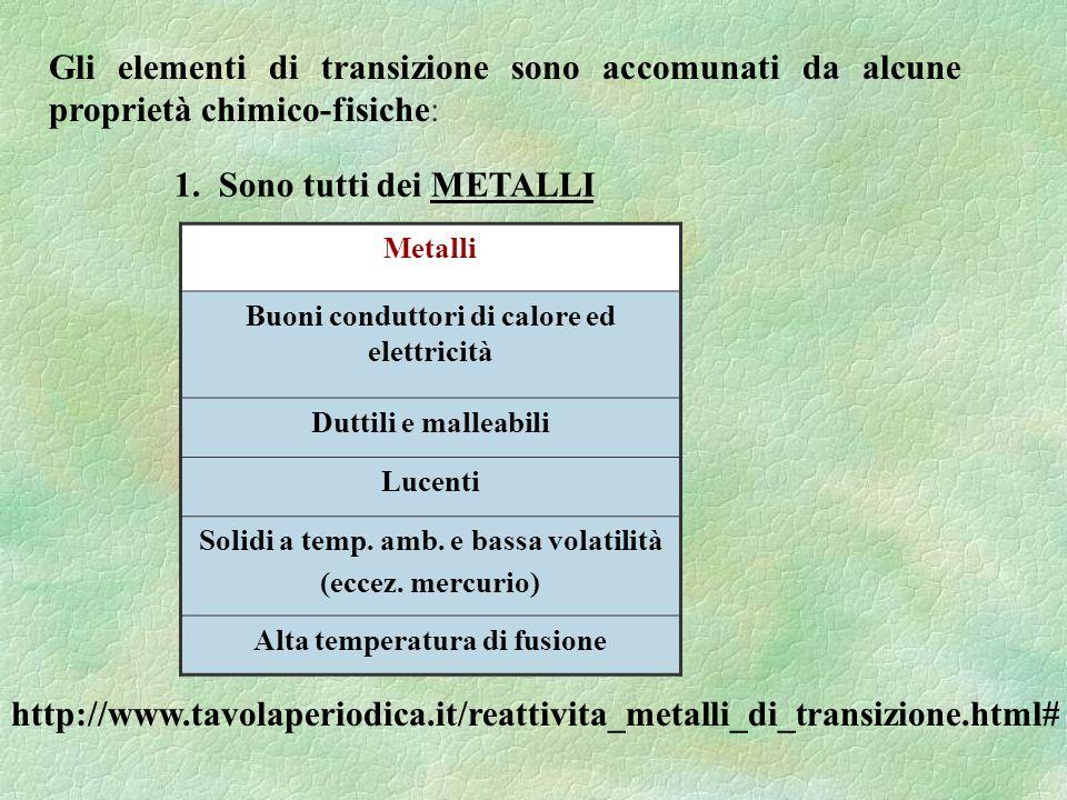 Gli elementi di transizione sono accomunati da alcune proprietà chimico-fisiche: