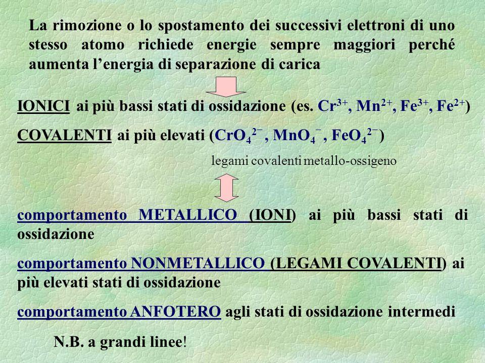 La rimozione o lo spostamento dei successivi elettroni di uno stesso atomo richiede energie sempre maggiori perché aumenta l'energia di separazione di carica