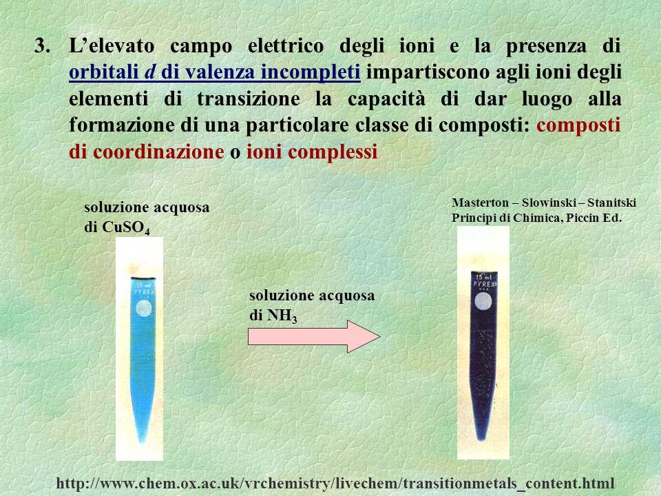 3. L'elevato campo elettrico degli ioni e la presenza di orbitali d di valenza incompleti impartiscono agli ioni degli elementi di transizione la capacità di dar luogo alla formazione di una particolare classe di composti: composti di coordinazione o ioni complessi