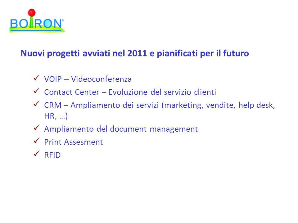 Nuovi progetti avviati nel 2011 e pianificati per il futuro