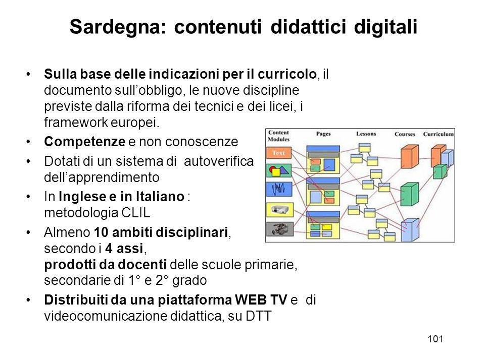 Sardegna: contenuti didattici digitali