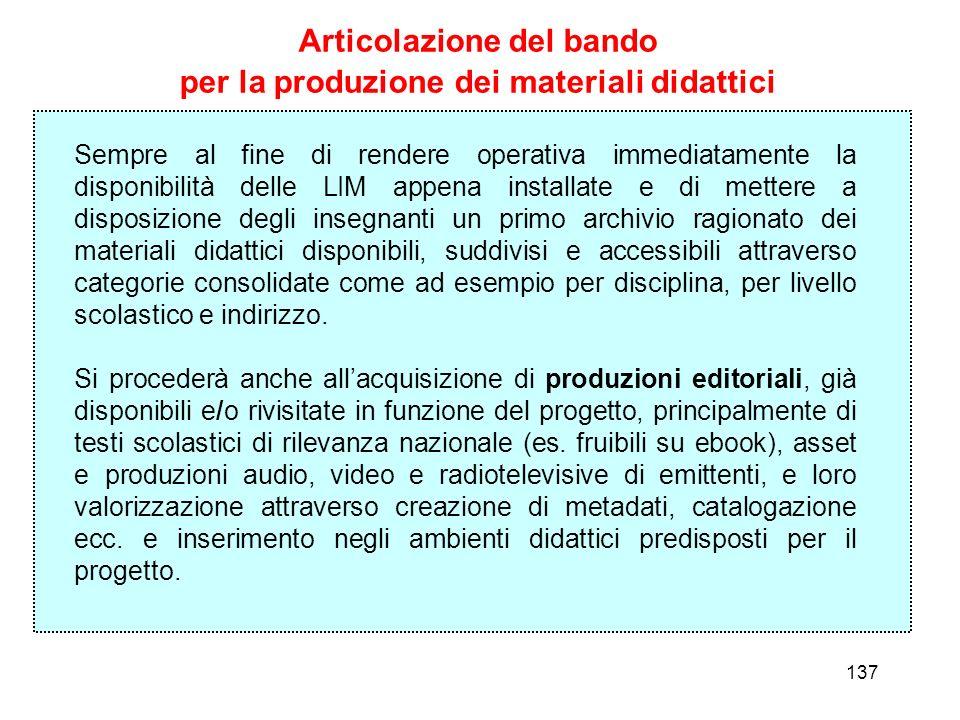 Articolazione del bando per la produzione dei materiali didattici