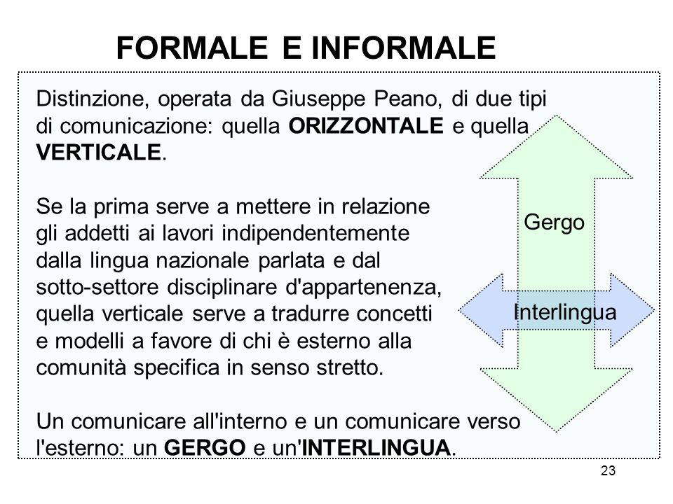 FORMALE E INFORMALE Distinzione, operata da Giuseppe Peano, di due tipi di comunicazione: quella ORIZZONTALE e quella VERTICALE.