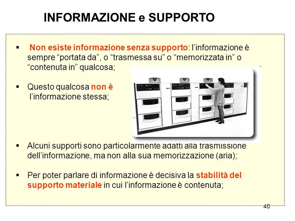 INFORMAZIONE e SUPPORTO