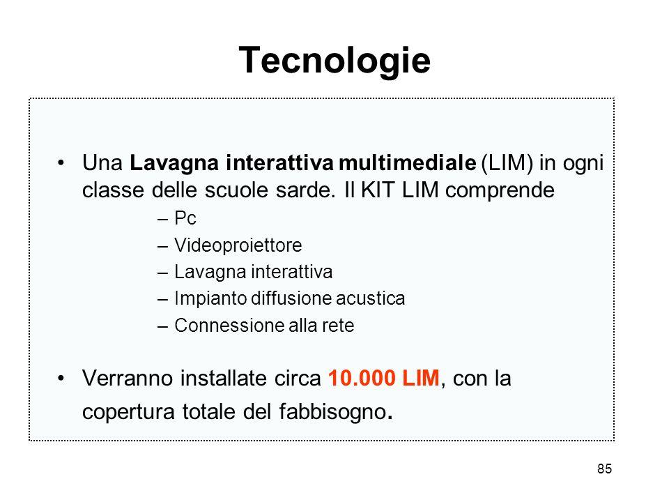 Tecnologie Una Lavagna interattiva multimediale (LIM) in ogni classe delle scuole sarde. Il KIT LIM comprende.