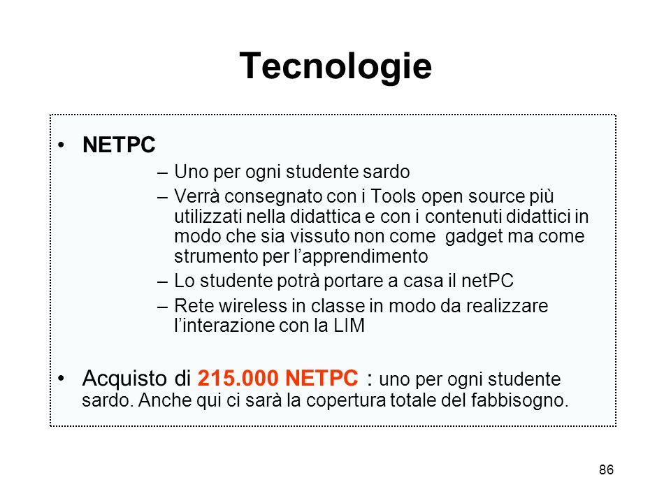 Tecnologie NETPC. Uno per ogni studente sardo.