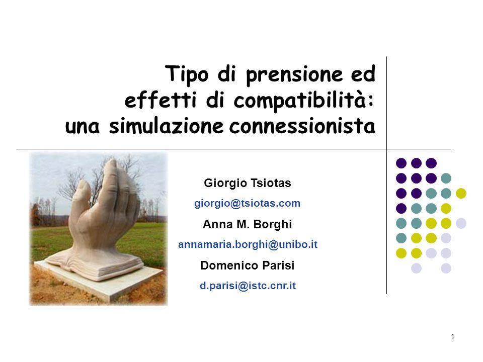 Tipo di prensione ed effetti di compatibilità: una simulazione connessionista