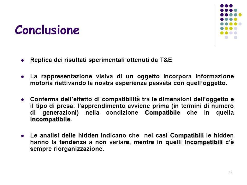 Conclusione Replica dei risultati sperimentali ottenuti da T&E