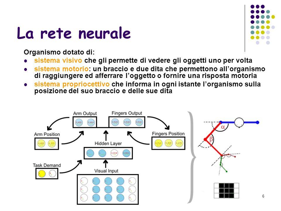 La rete neurale Organismo dotato di: