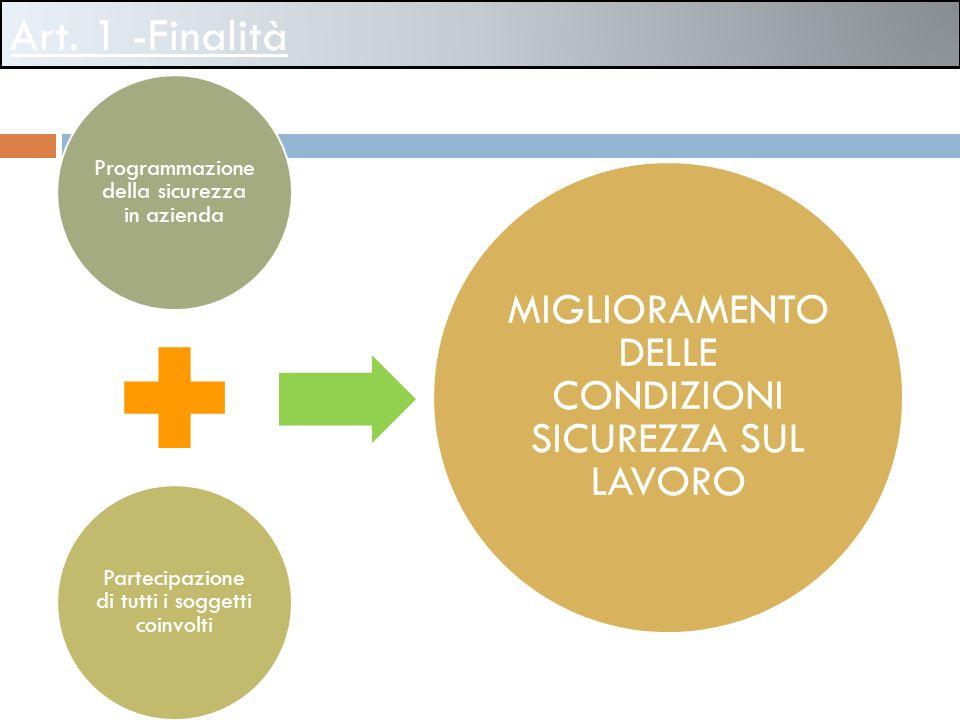 Art. 1 -Finalità Programmazione della sicurezza in azienda