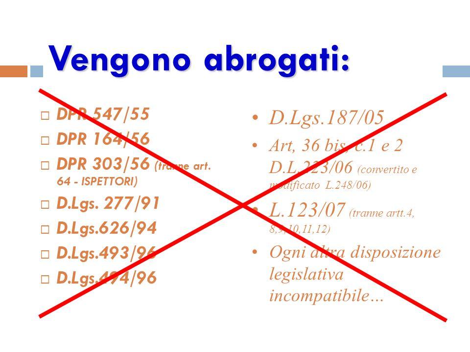 Vengono abrogati: D.Lgs.187/05 L.123/07 (tranne artt.4, 8,9,10,11,12)
